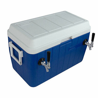 Kegco Kjb-200-blue Dual Tap Blue Jockey Box With Side-mounted Faucets