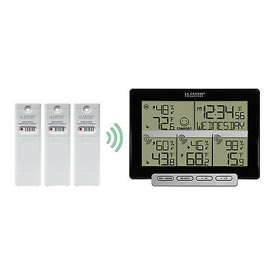 308-1412-3TX La Crosse Technology Weather Station with Time & 3 Outdoor Sensors