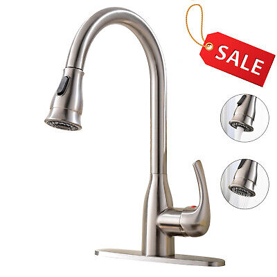 "Brushed Nickel Stainless Steel Pull Down Kitchen Sink Faucet with 10""Deck Plate"