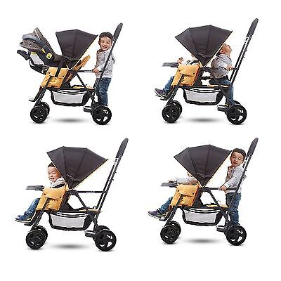 Double Stroller Toddler Seat - Sit And Stand Stroller Infant + Toddler Double Kids Tandem with Car Seat Adapter