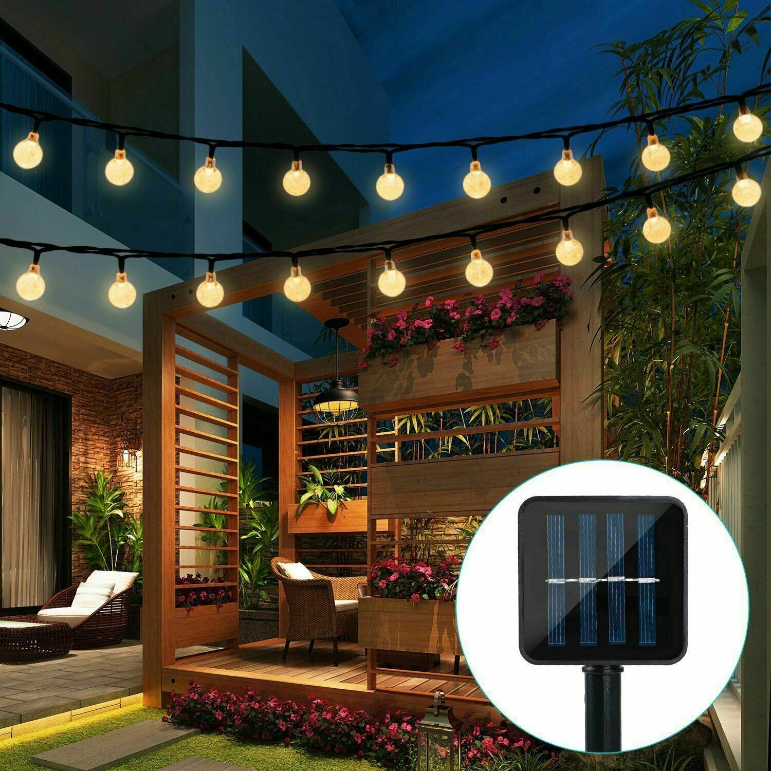 Solar Powered 30 LED String Light Garden Path Yard Decor Lamp Outdoor Waterproof Home & Garden