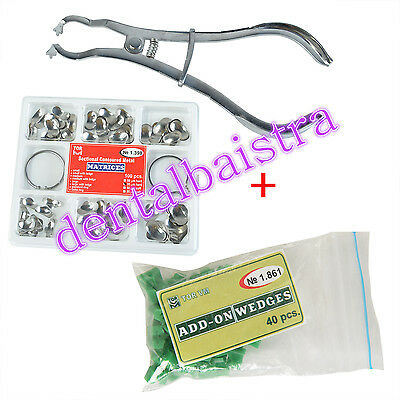 Dental 100Pcs Sectional Contoured Matrices Matrix Rings Delta & 40 Add-On Wedges