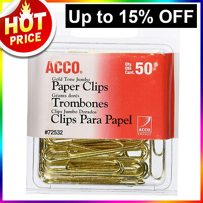ACCO Jumbo Gold Paper Clips Large Smooth 50/Box Wire 72532 Bulk Lot - SALE  Acco Gold Paper