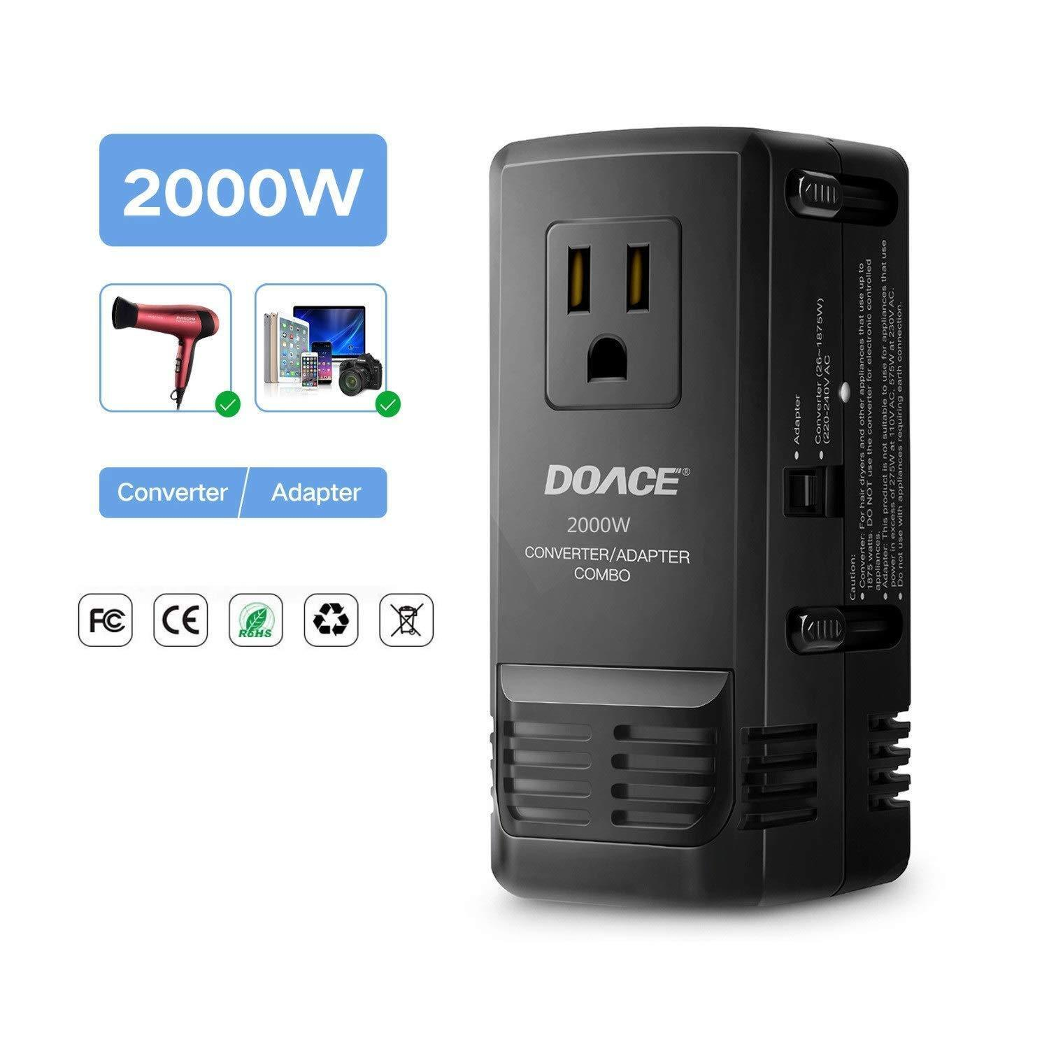 DOACE 2000W Travel Adapter and Voltage Converter Combo, Step