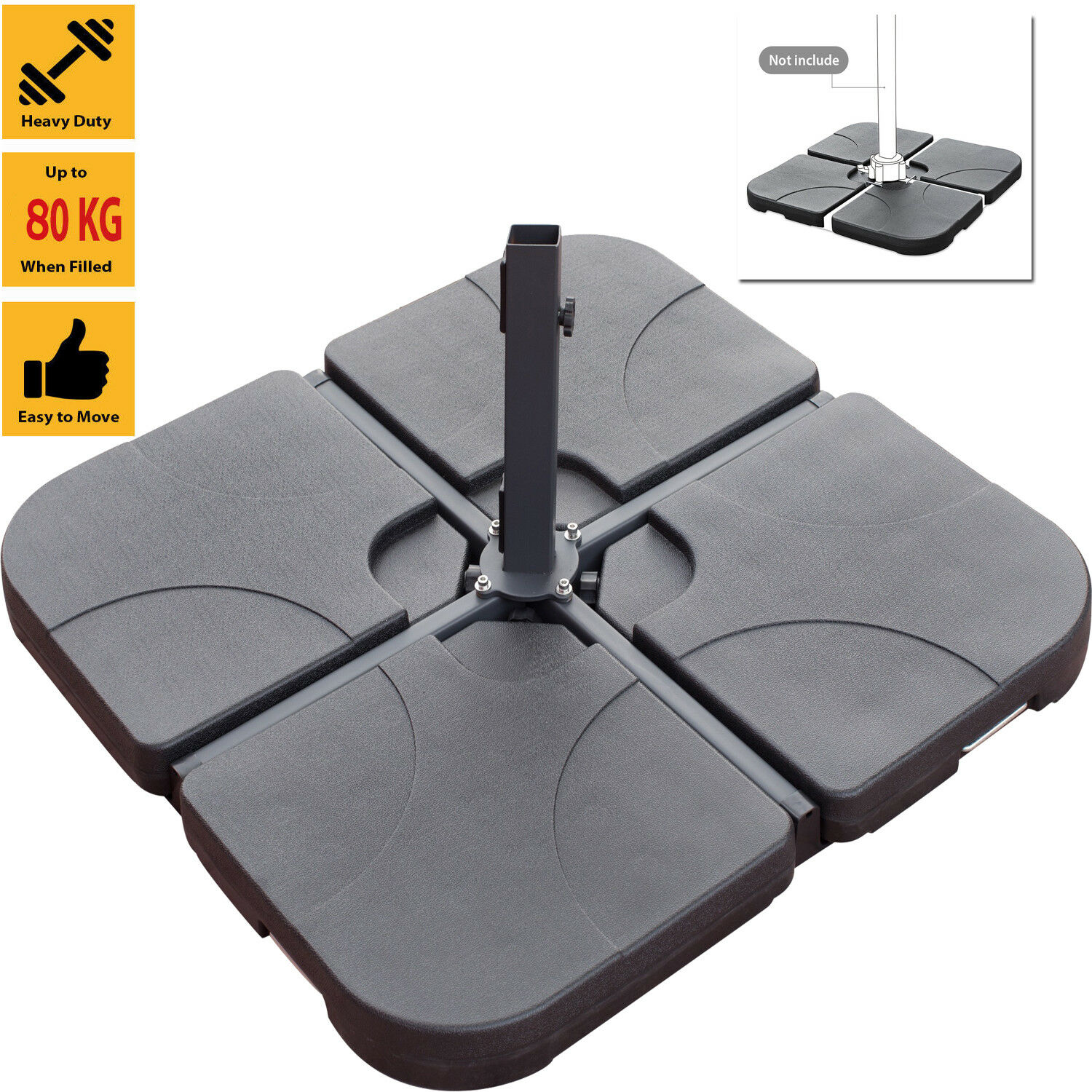Details About Set Of 4 Square Banana Parasol Base Stand Holder Patio Cantilever Home Garden