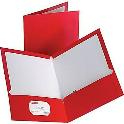 Oxford Laminated Twin-pocket Portfolios Red Pack Of 10