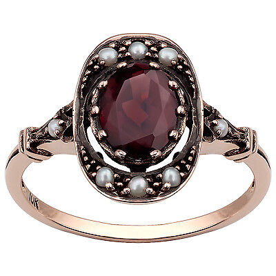 10k Rose Gold Vintage Style Genuine Garnet and Pearl Ring
