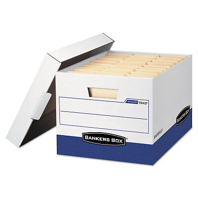 Bankers Box R-kive Max Storage Box Letterlegal Locking Lid Whiteblue 12carton