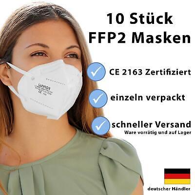 FFP2 Maske Mundschutz Schutzmaske 5-lagig Atemschutz CE zertifiziert 10 Stück