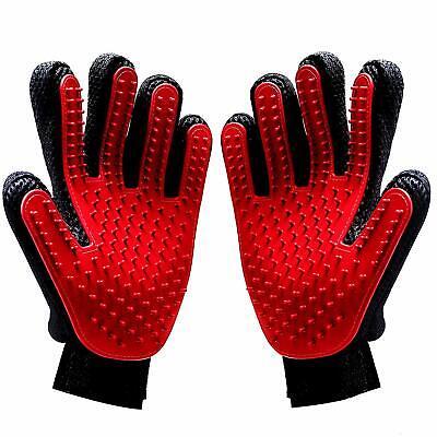 Dog Grooming Brush Silicone Gloves Pair for Washing Shedding Massage Detangle