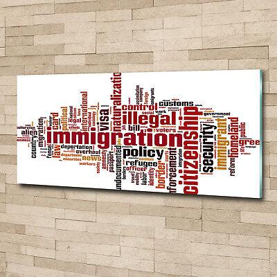 Glas-Bild Wandbilder Druck auf Glas 125x50 Deko Sprüche Einwanderung