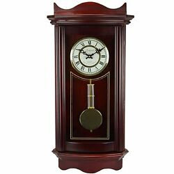 Bedford 25 Grandfather Weathered Cherry Wood Wall Pendulum Clock 4 Chimes