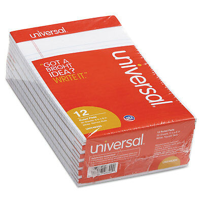 UNIVERSAL Perforated Edge Writing Pad Narrow Rule 5 x 8 White 50 Sheet Dozen 50 Sheet White Pad