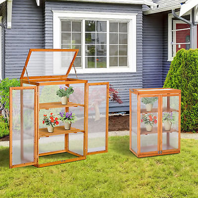 Mini Wood Greenhouse Cold Frame Garden Flower Planting Box Growhouse 3 Types