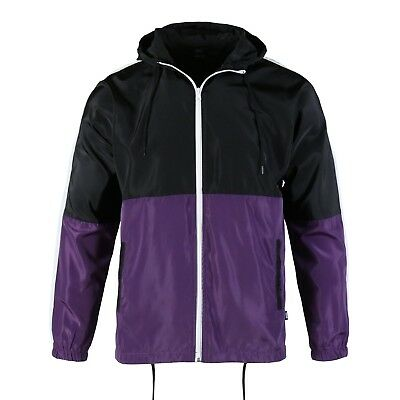 Purple Windbreaker - Mens Color Block Hooded Lightweight Windbreaker Zip up Gym Jacket Black / Purple