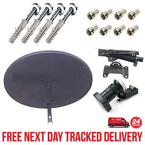 Sky Minidish MK4 Pack Zone 1 + Quad LNB + 8 F Connectors + Fixing Wall Brackets