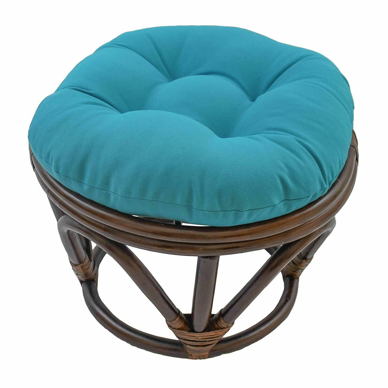 "Blazing Needles Solid Twill Round Footstool Cushion, 18"", Aq"