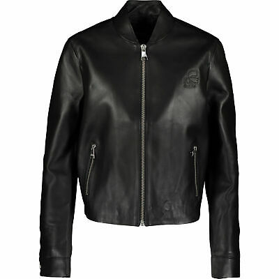 KARL LAGERFELD Blk SheepSkin 100% Real Leather Bomber Jacket Sz:uk10,rrp:£500