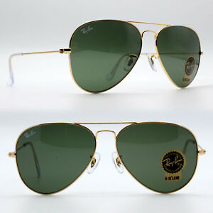 Ray-Ban Classic Aviator Sunglasses Green G-15 Lens / Gold RB3025 L0205 58 mm New