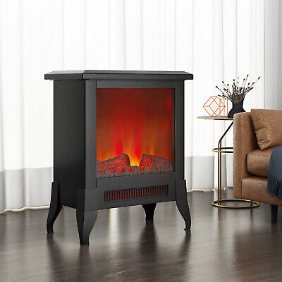 1800W Electric Fireplace Log Burning Fire Flame Effect Stove Heater Freestanding