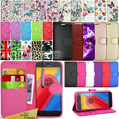 For Motorola Moto  C Plus - Wallet Leather Case Flip Stand Cover + Touch Stylus