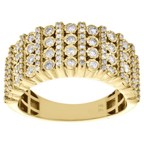 10K Yellow Gold Mens Round Diamond Wedding Band 9mm Miracle Set Ring 0.76 CT. 1
