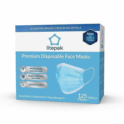 125pcs Litepak Premium Disposable Face Masks Allergies Hypoallergenic Medical