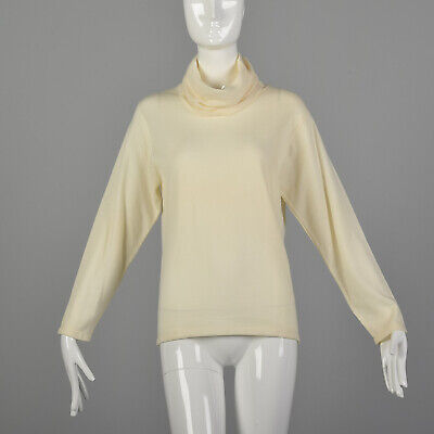 80s Sweatshirts, Sweaters, Vests | Women S Cream Turtleneck Sweater 1980s Wool Lightweight Ivory Knit Deadstock  80s VTG $61.20 AT vintagedancer.com