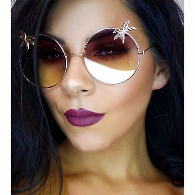 Flat Lens Big Round Oversized Women Sunglasses Metal Frame with Palm Tree