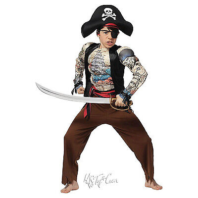 NWT Youth Pirate Muscle Tattoo Jumpsuit Costume Eyepatch+Hat Halloween L(10/12) (Youth Pirate Costume)