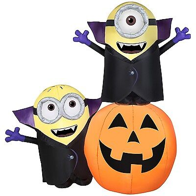 Halloween Inflatable Gone Batty Minions with Pumpkin Scene By Gemmy