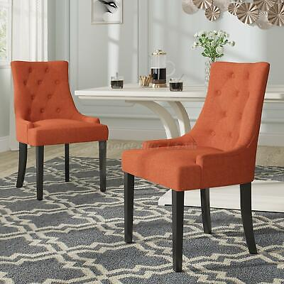 2pcs/Set Orange Fabric Wood Leg Dining Chairs