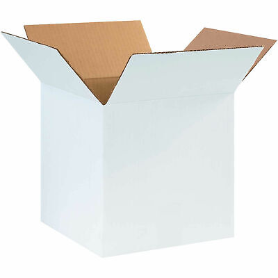 10 X 10 X 10 Cardboard Corrugated Boxes 65 Lbs Capacity Ect-32 White Lot
