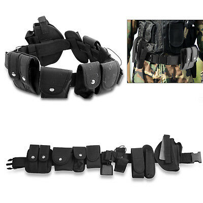 Black Nylon Tactical Security Police Guard Duty Belt Utility Kit System w/ Pouch