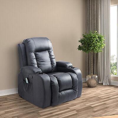 HOMCOM Massage Sofa PU Leather Massager Recliner Swivel Heating Armchair