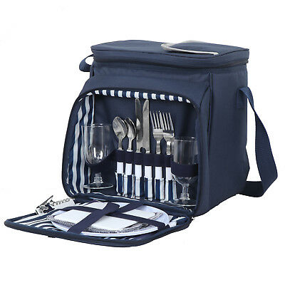 Insulated Picnic Basket Set Lunch Tote Bag Cooler w/ Utensils & Plates