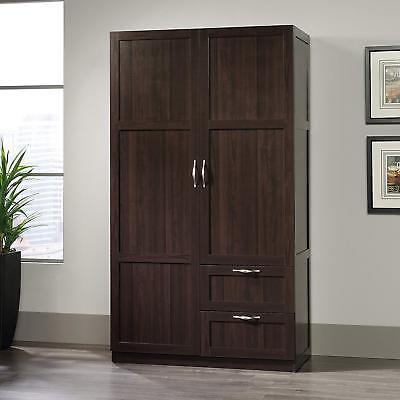 Dk Cherry Finish Armoire Wooden Wardrobe Storage Cabinet Closet Drawer Organizer Cherry Living Room Armoire