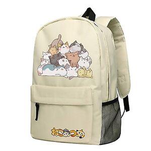 Anime Neko Atsume Cat Backyard Cosplay Printed Oxford Backpack School Bag 17