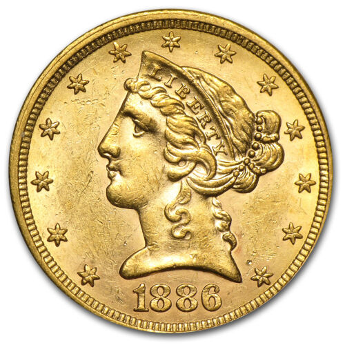$5 Liberty Gold Half Eagle Coin – Random Year – Almost Uncirculated – SKU #1124
