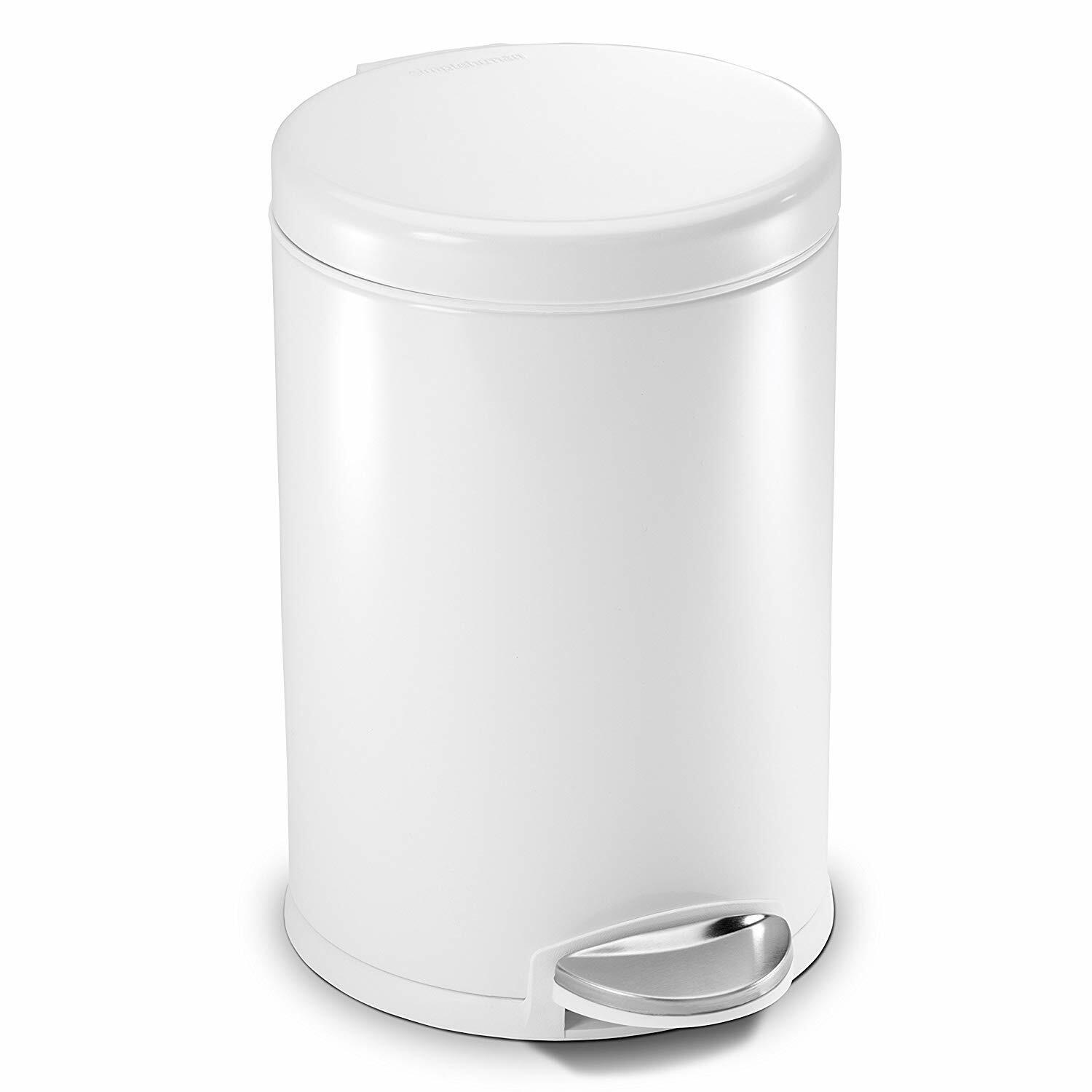 Silver 5 Liter//1.3 Gallon Small Round Stainless Steel Step Trash Can