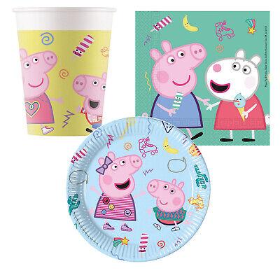 Peppa Pig Wutz Kinder Geburtstag Party Deko Teller Becher Servietten Auswahl Set