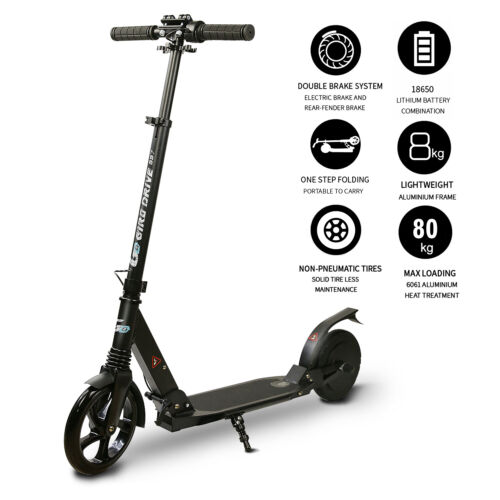 "** Electric Scooter for Teens, Folding 8""Tire, 3 Adjustable Heights Black"