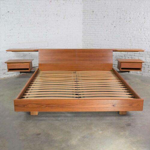 Teak Scandinavian Modern Cal King Storage Platform Bed & Nightstands by Dyrlund