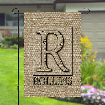 Personalized Monogram Garden Banner Flag Burlap Style Custom Name 11x14 - 12x18 ()