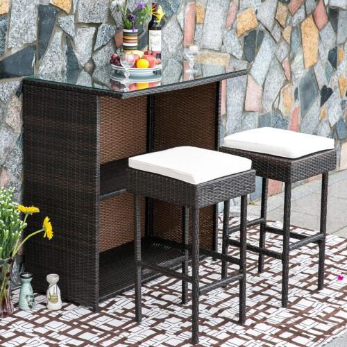Garden Furniture - 3 PCS Outdoor Patio Rattan Bar Set w/Cushion Garden Barstool Furniture Sets