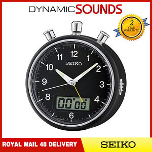 Seiko Bedside Alarm Clock with Stopwatch & Countdown Timer, LCD Display - Black