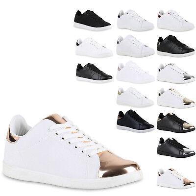 Damen Sneakers Metallic Cap Sportschuhe Schnürer Freizeit Schuhe 814922 New Look