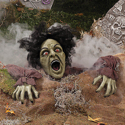 Clawing Laughing ZOMBIE Ground Breaker Flashing Eye Halloween Yard Outside Decor
