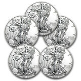 2015 1 oz Silver American Eagle BU (Lot of 5) - SKU #87832