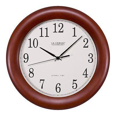 "La Crosse Technology 12"" Cherry Wood Atomic Analog Clock, Re"